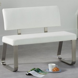 Malibu Small Faux Leather Dining Bench With Back In White
