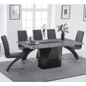 Malina 180cm Light Grey Marble Rectangular Dining Table With 6 Hereford Grey Chairs