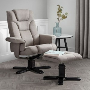 Malmo Linen Fabric Recliner Chair And Stool In Grey