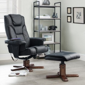 Malmo Faux Leather Massage Recliner Chair And Stool In Black
