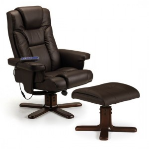 Malmo Faux Leather Massage Recliner Chair And Stool In Brown