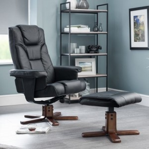 Malmo Faux Leather Recliner Chair And Stool In Black