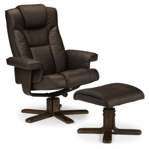 Malmo Faux Leather Recliner Chair And Stool In Brown