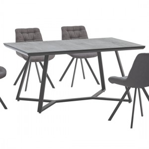 Malta Stone Effect Glass Dining Table With Black Metal Legs