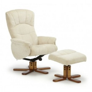 Mandal Cotton Swivel Recliner Chair In Cream
