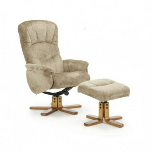 Mandal Fabric Swivel Recliner Chair In Mink