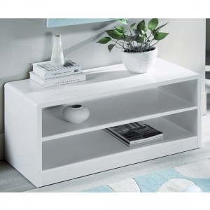 Manhattan Compact Wooden TV Stand In White High Gloss