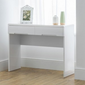 Manhattan Wooden 2 Drawers Dressing Table In White High Gloss