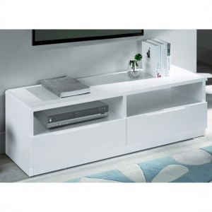 Manhattan Wooden 2 Drawers TV Stand In White High Gloss