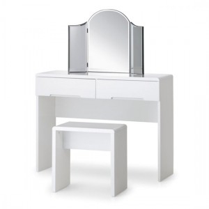 Manhattan Wooden Dressing Table And Stool In White High Gloss
