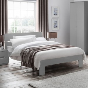 Manhattan Wooden King Size Bed In Grey High Gloss