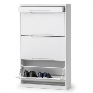 Manhattan Wooden Shoe Storage Cabinet With Drawer In White High Gloss