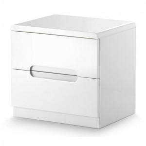 Manhattan Woooden 2 Drawers Bedside Cabinet In White High Gloss