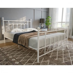 Manila Metal King Size Bed In White