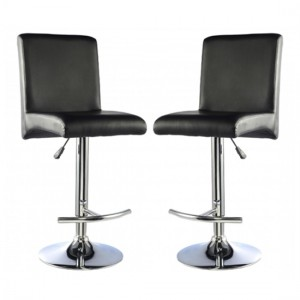 Manor Black Faux Leather Bar Stools In Pair With Chrome Base