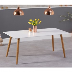Mansfield Wooden Dining Table In Matt White