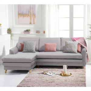 Mante Linen Fabric Upholstered Left Hand Facing Corner Sofa Bed In Grey