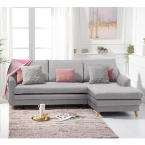 Mante Linen Fabric Upholstered Right Hand Facing Corner Sofa Bed In Grey
