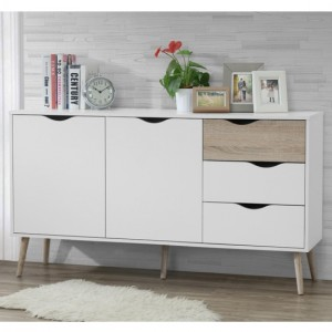 Mapleton Large Wooden Sideboard In White And Oak Effect