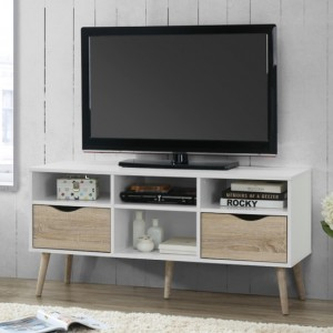 Mapleton Large Wooden TV Stand In White and Oak Effect