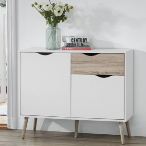 Mapleton Small Sideboard In White And Oak Effect