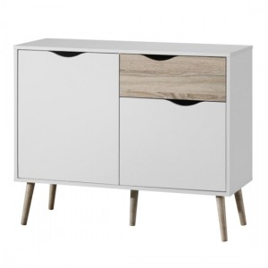 Mapleton Small Wooden TV Stand In White and Oak Effect