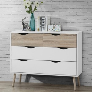 Mapleton Wooden Chest of Drawers In White And Oak With 4 Drawers