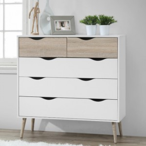 Mapleton Wooden Chest of Drawers In White And Oak With 5 Drawers