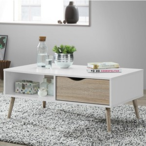 Mapleton Wooden Coffee Table In White And Oak Effect