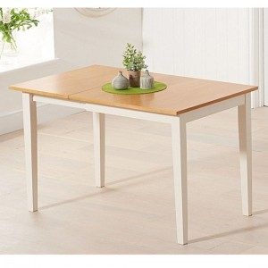 Mara Extending Wooden Dining Table In Light Oak And Cream