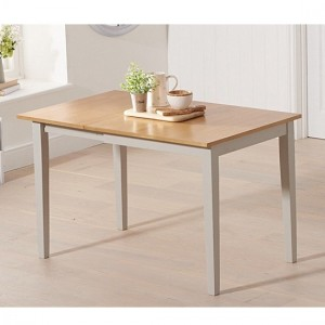 Mara Extending Wooden Dining Table In Light Oak And Grey