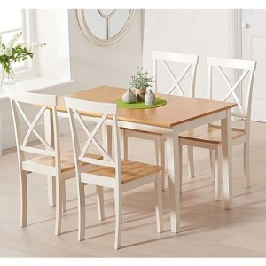 Mara Extending Dining Table In Oak And Cream With 4 Elstree Chairs