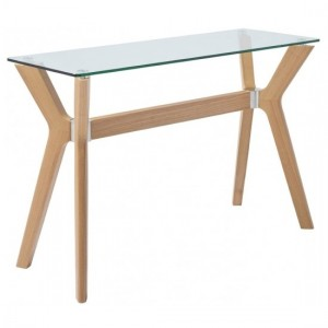 Marbella Glass Top Console Table With Ash Veneer