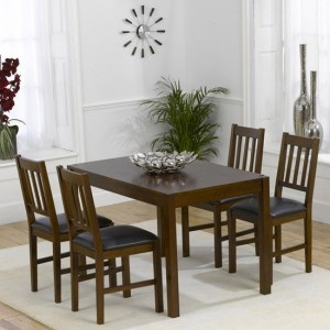 Marbella Wooden Dining Set In Dark Oak With 4 Chairs