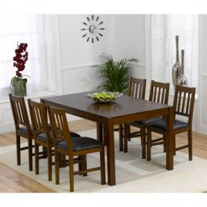 Marbella Wooden Dining Set In Dark Oak With 6 Chairs
