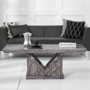 Mocha Marble Coffee Table In Grey With V Shape Base