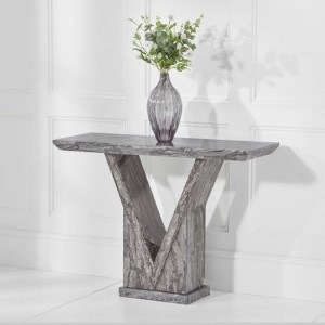 Mocha Marble Console Table In Grey With V Shape Base