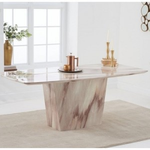 Rome Marble Dining Table In Brown Finish