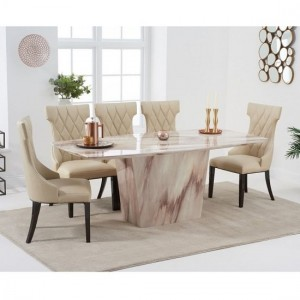 Rome Marble Dining Table In Brown With Six Dewall Dining Chairs