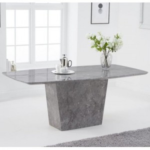 Rome Marble Dining Table In Light Grey Finish