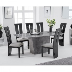 Rome Marble Dining Table In Grey With Eight Arizona Dining Chairs