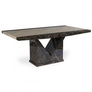 Tenore Marble Effect Large Dining Table In Brown And Cream