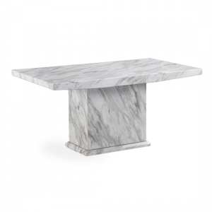 Phoenix Marble Effect Dining Table In High Gloss