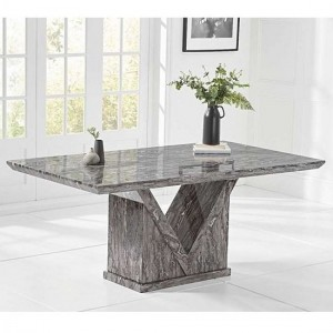 Mocha Marble Large Dining Table In Grey With V Shape Base