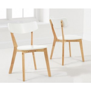 Calvin White And Oak Wooden Dining Chairs In A Pair
