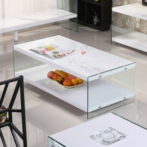 Marco Wooden And Glass Coffee Table In White High Gloss