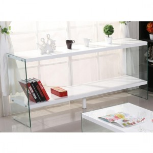 Marco Wooden Sideboard In White High Gloss With Glass Sides
