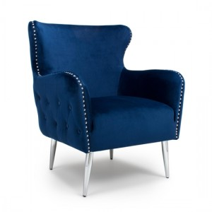 Marquess Tufted Brushed Velvet Armchair In Ocean Blue