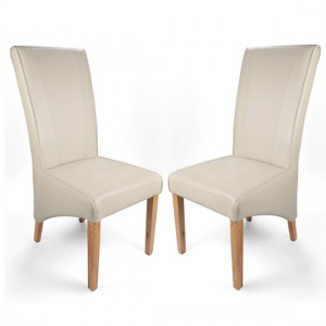Marseille Wide Back Matt Bonded Ivory Leather Dining Chair In Pair