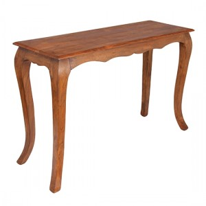 Marseille Wooden Console Table In Brunt Oak